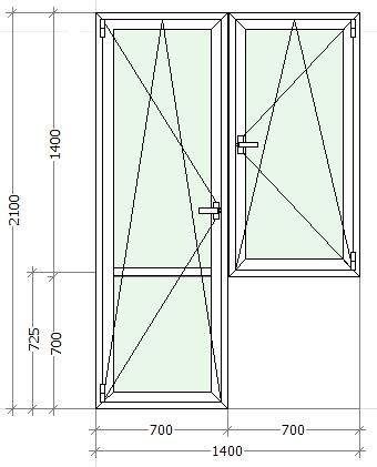 схематическое изображение балконный блок с поворотно откидным окном