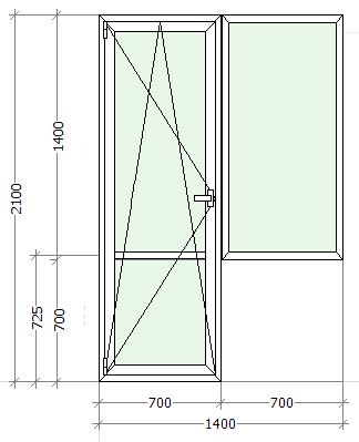 схематическое изображение балконный блок с маленьким глухим окном