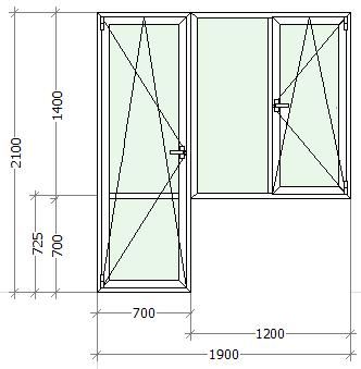 схематическое изображение балконный блок с большим двухстворчатым окном