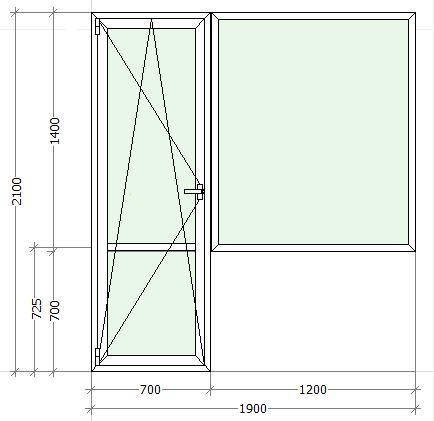 схематическое изображение балконный блок с большим глухим окном