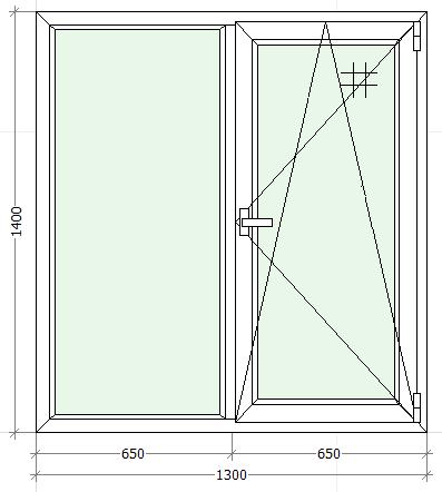 схематическое изображение двухстворчатого окна