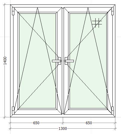 схематическое изображение двухстворчатого окна с двумя открываниями
