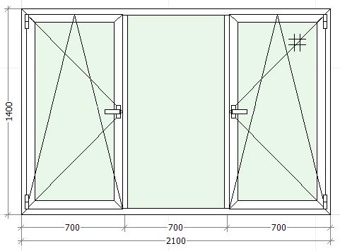 схематическое изображение трехстворчатого окна с двумя открываниями
