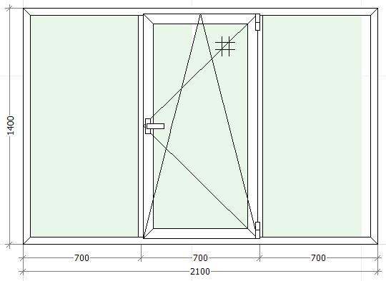 схематическое изображение трехстворчатого окна с одним открыванием