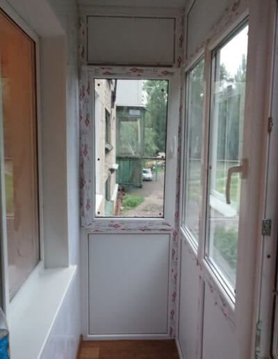 фото французский балкон профиль Brus Box вид внутри Окна Prof