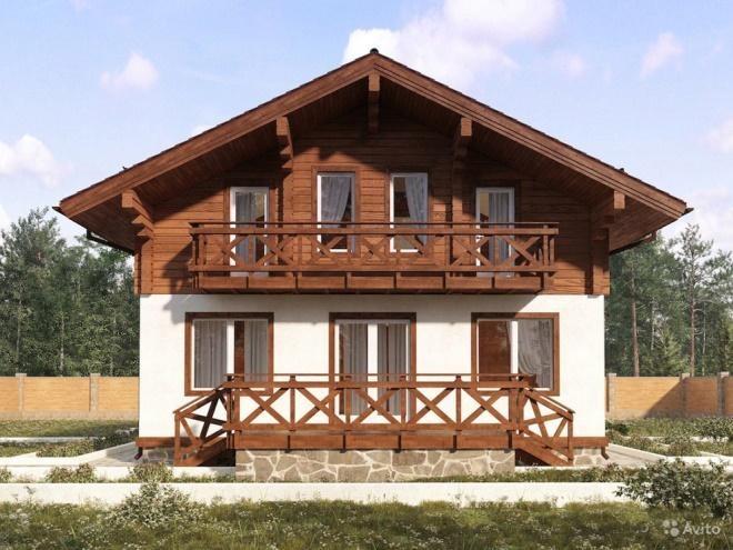 картинка балкон в домах из дерева