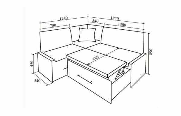 картинка чертеж каркаса дивана
