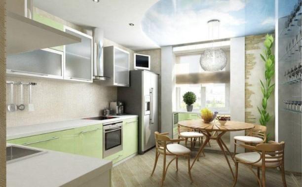 картинка дизайн кухни с балконом