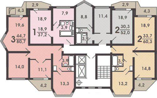 """картинка план квартир с балконами """"утюг"""""""