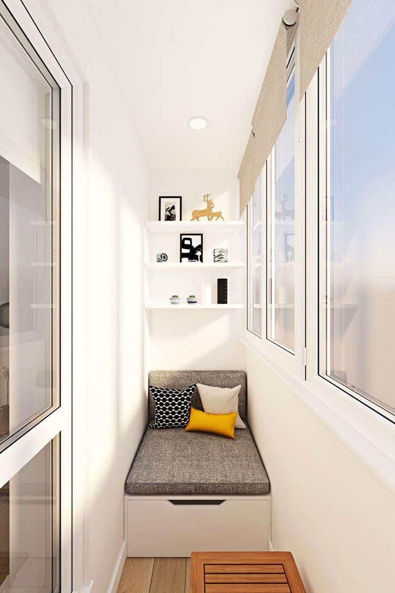 картинка дизайн балкона в светлых тонах