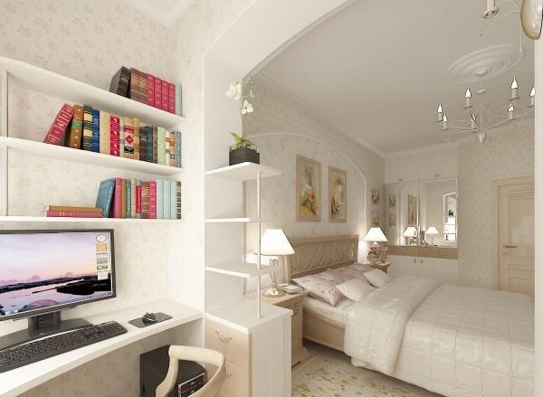 картинка рабочий кабинет на совмещенной с лоджией комнате