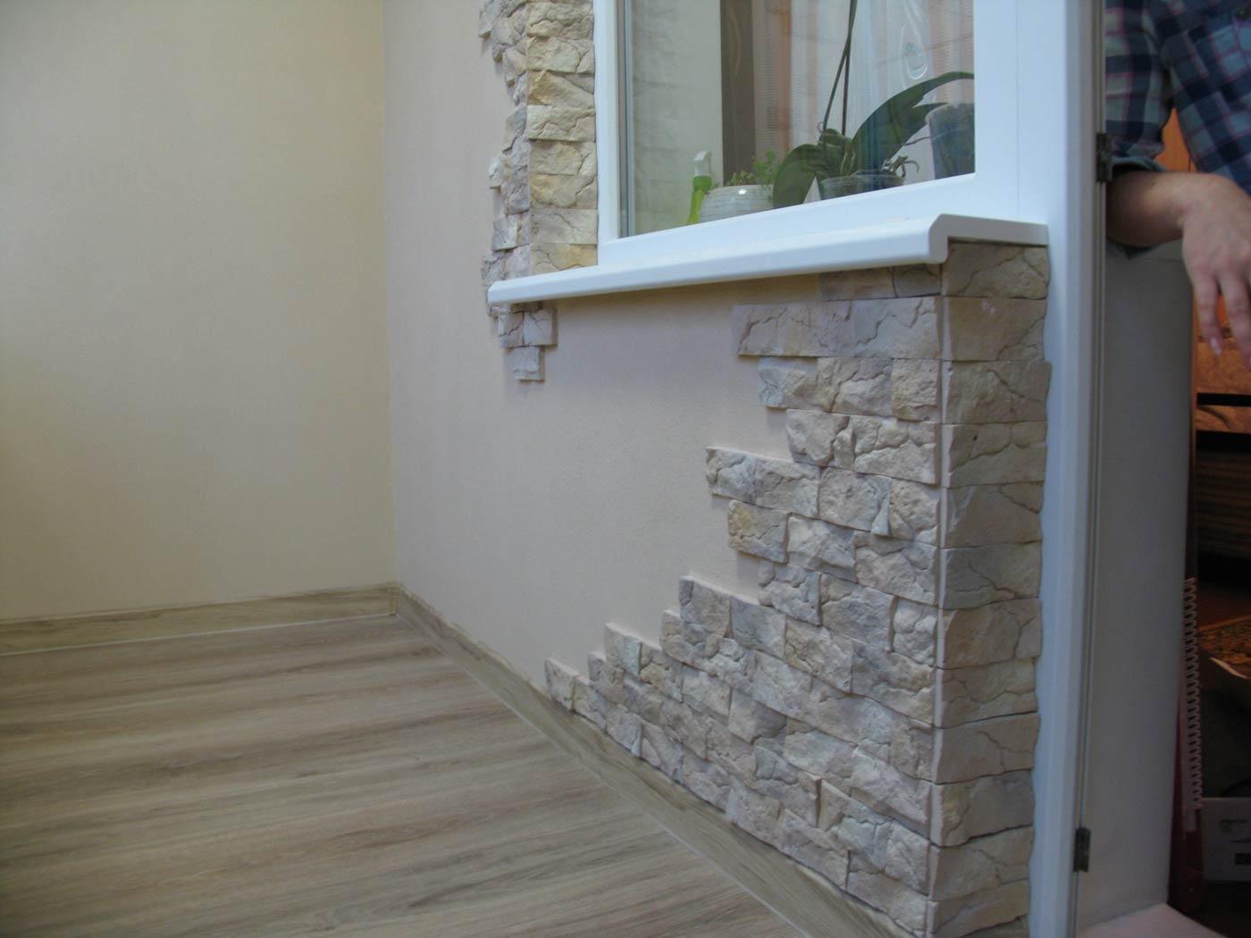 картинка отделка откосов балкона декоративным камнем