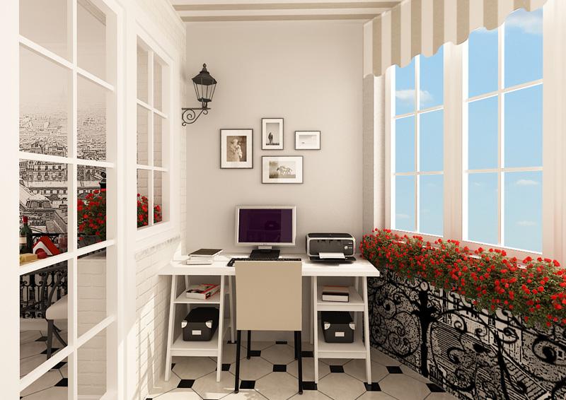 картинка рабочий кабинет на лоджии