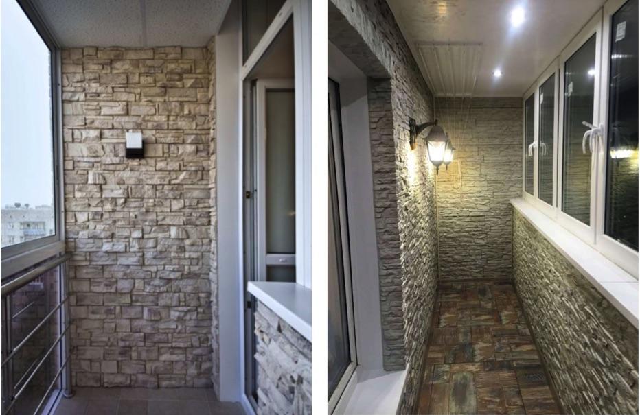 картинка отделка балкона камнем