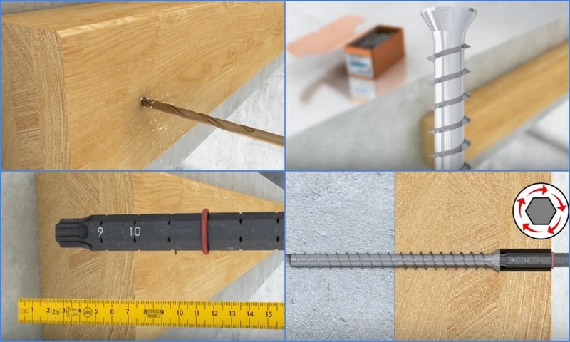 картинка принцип крепежа винтами по бетону