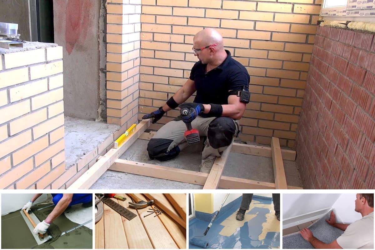картинка ремонт пола на балконе