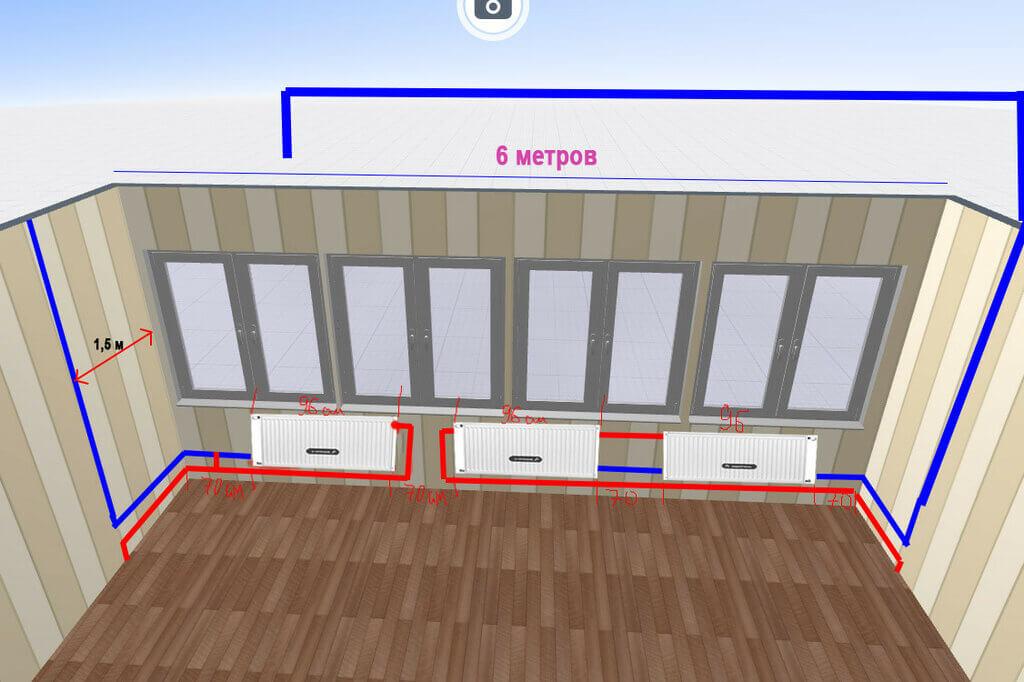 картинка установка радиатора на балконе