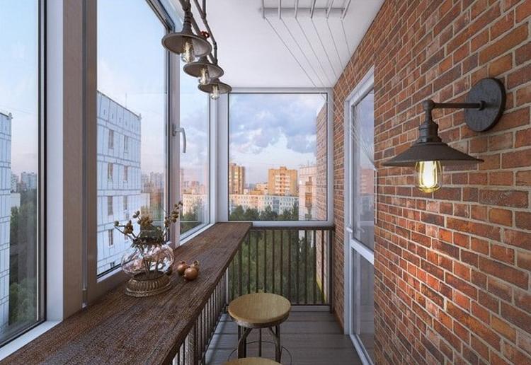 """картинка застекленный балкон в стиле """"Лофт"""""""