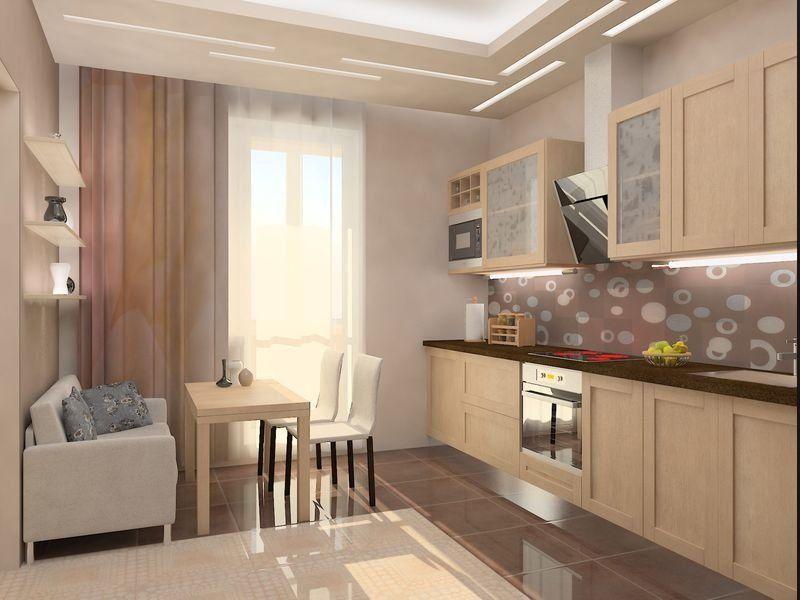 картинка дизайн кухни 12 кв.м с выходом на балкон