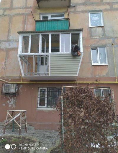 фото балкон с выносом Горловка работа Окна Проф 004