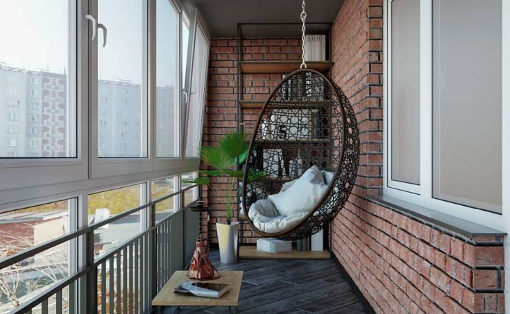 картинка балкон в стиле лофт