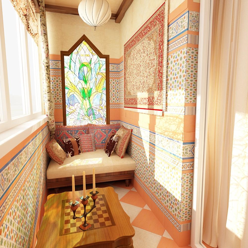 картинка балкон в восточном стиле