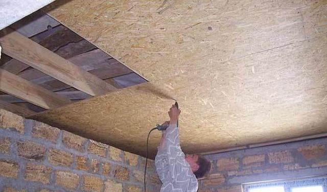 картинка обшивка потолка на балконе осб плитой