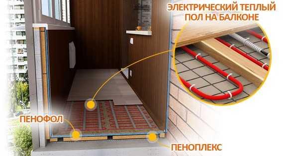 картинка электрический теплый пол на балконе