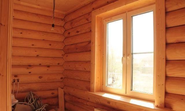 картинка отделка пластиковых окон внутри деревянного дома