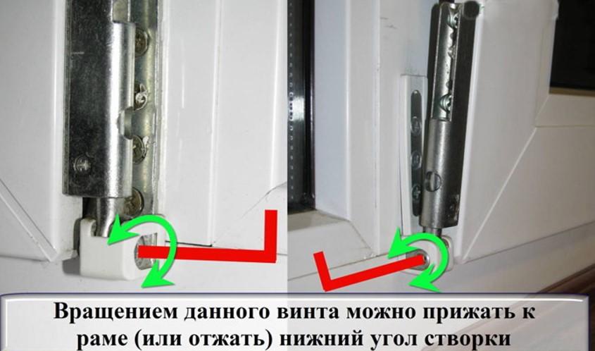картинка регулировка посредством точек в нижних петлях