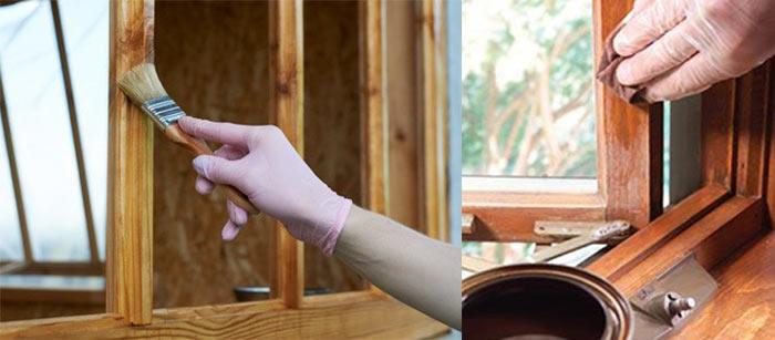 картинка пропитка антисептиком, лаком и покраска