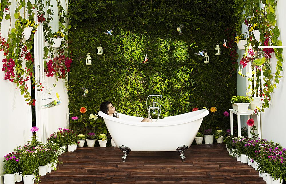 картинка цветы в ванной комнате