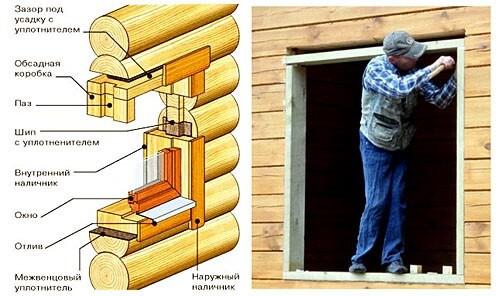 картинка установка окон в бревенчатом доме