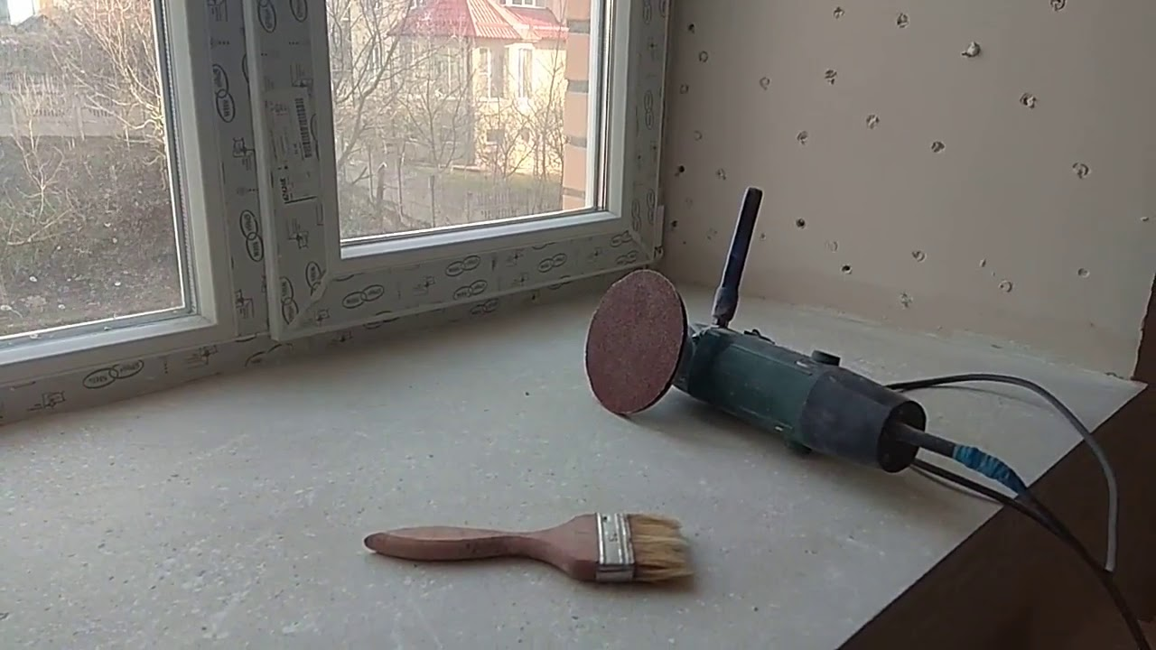 картинка окрашивание бетонного подоконника