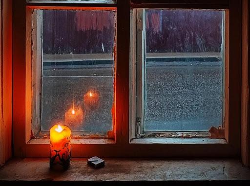 картинка свеча и деревянное окно
