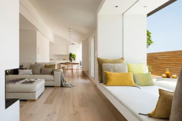 картинка подоконник-диван в стиле хай-тек