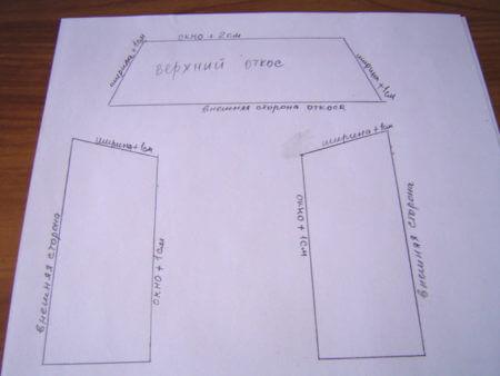 картинка чертеж с размерами оконного откоса
