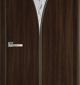 """Межкомнатные двери """"Новый стиль"""" Модерн Бора со стеклом сатин и рисунком, орех 3d"""