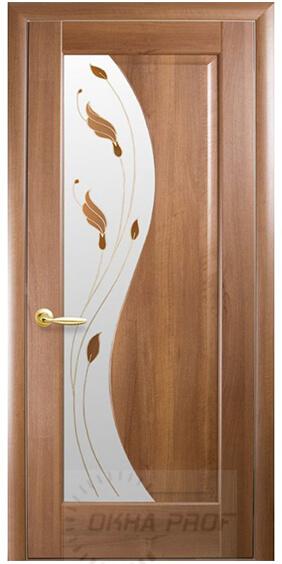 """Межкомнатные двери """"Новый стиль"""" Маэстра Эскада, золотая ольха со стеклом сатин и рисунком"""