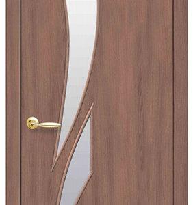 """Межкомнатные двери """"Новый стиль"""" Модерн Камея со стеклом сатин и рисунком, ольха 3d"""