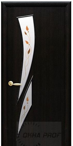 """Межкомнатные двери """"Новый стиль"""" Модерн Камея со стеклом сатин и рисунком, орех 3d"""