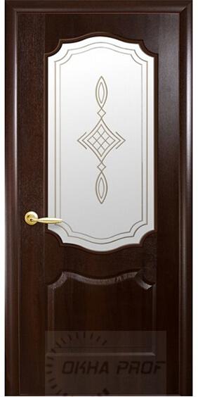 """Межкомнатные двери """"Новый стиль"""" Фортис Вензель со стеклом сатин и рисунком, каштан"""