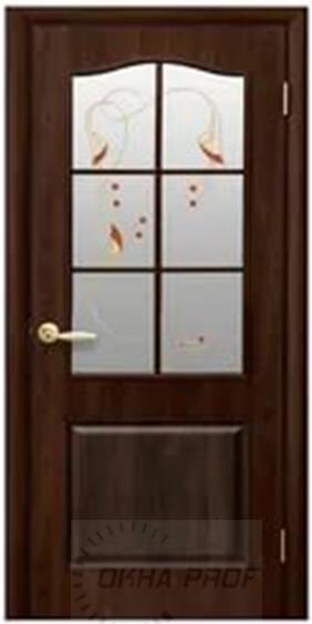 """Межкомнатные двери """"Новый стиль"""" Фортис Классик со стеклом сатин и рисунком, орех premium"""