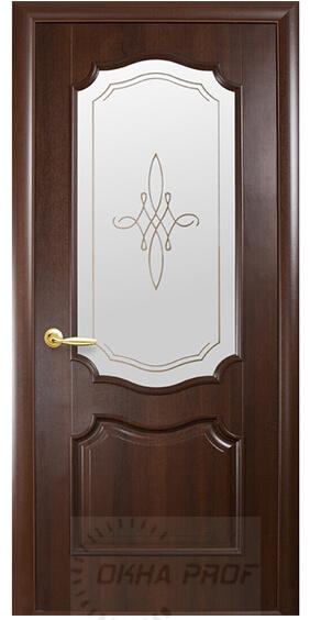 """Межкомнатные двери """"Новый стиль"""" Интера Рока, каштан со стеклом сатин и рисунком"""