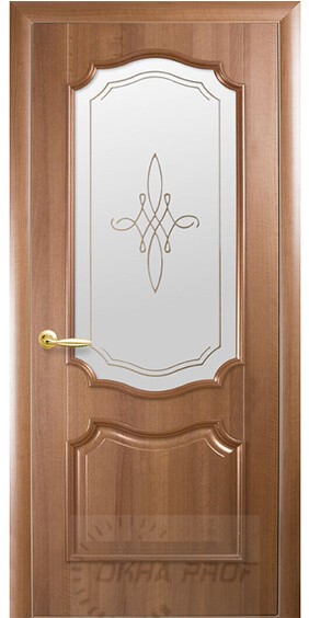 """Межкомнатные двери """"Новый стиль"""" Интера Рока, золотая ольха со стеклом сатин и рисунком"""