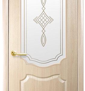 """Межкомнатные двери """"Новый стиль"""" Фортис Вензель со стеклом сатин и рисунком, ясень"""