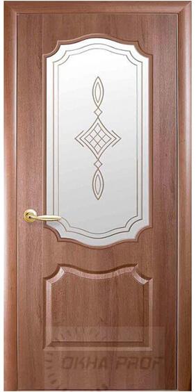 """Межкомнатные двери """"Новый стиль"""" Фортис Вензель со стеклом сатин и рисунком, золотая ольха"""