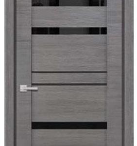 Межкомнатные двери Петровские серия HiTech 4,96 Дуб серый Черное стекло